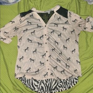 French Laundry Top XL Animal print